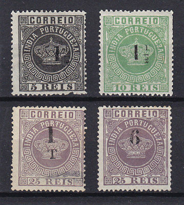 Portugal, Portuguese India, 4 surcharged crowns (*)