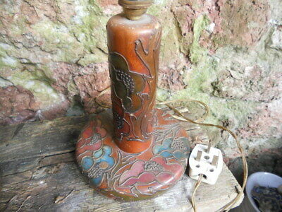 art nouveau lamp base ,wooden ,tube line flower design