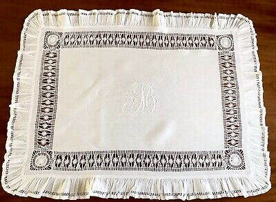 Beautiful Vintage Hand Embroidered Monogrammed Drawn Thread Frilled Tablecloth