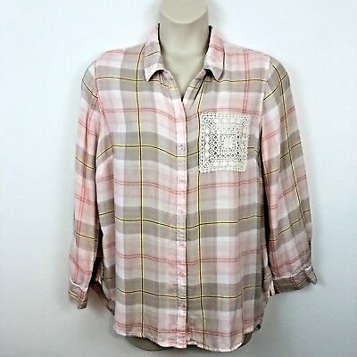 53a8a870b37 Westbound Womens Shirt Top Plus Size 2X Pink Plaid Button Front Long Sleeve  Lace