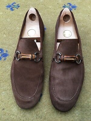 571afdb0a Gucci Mens Shoes Brown Suede Bamboo Horsebit Loafers UK 9 US 10 EU 43
