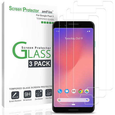 amFilm Glass Screen Protector for Google Pixel 3 (3 Pack) Tempered