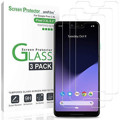 amFilm Glass Screen Protector for Google Pixel 3 XL (3 Pack) Tempered