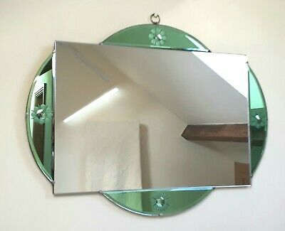 An Original Large Art Deco/vintage Wall Mirror With Green Glass.