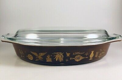 Vintage Pyrex Early American 1.5 QT Divided Casserole Dish w/ Lid
