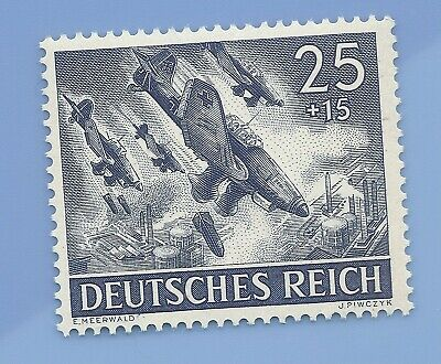Nazi Germany Third Reich Nazi 1943 Bomber Plane 25+15 Stamp MNH WW2 ERA