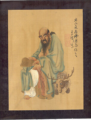 VINTAGE JAPANESE INK and WATERCOLOUR PICTURE 1900-1920  DRAWING SILK CHINESE ART