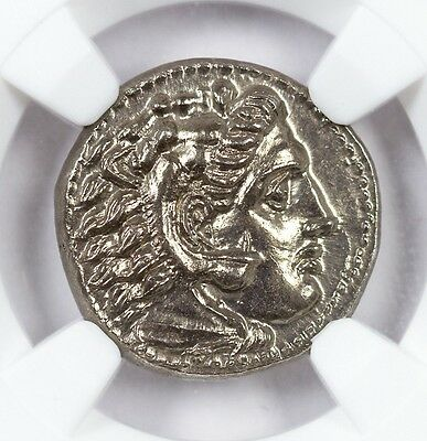 Alexander III - Silver Drachm NGC CH-MS Kingdom of Macedon - Rare Lifetime Issue