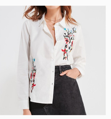 223609b1 NWT BDG Urban Outfitters Button Down Shirt Floral Embroidered Top White  Size M