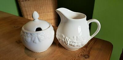 Marks Spencer M&s St Michael White Embossed Lidded Sugar Pot & Milk Jug
