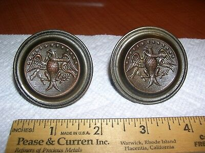 Rare Pair (2) Antique 19Th Century Federal Colonial Eagle Knob Drawer Pulls -