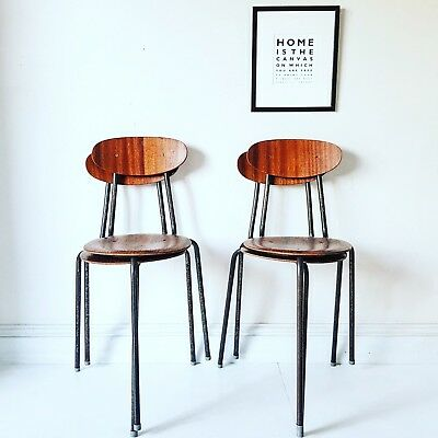 Retro Vintage Mid Century 1950s 1960s Industrial Set Of 4 Stacking Chairs