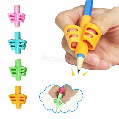 5pcs 2/3-finger Grip Silicone Kid Baby Pen Pencil Holder Help Learn Writing Tool