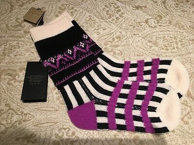 Ladies BURBERRY knitted cashmere wool blend socks fairisle Patchwork Harrods 0562063ce59c