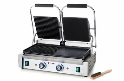 Hendi Griddle Doppelausführung Panini Grill Table Barbecue Electric