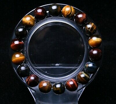 10mm Natural Colorful Tiger's Eye Gemstone Round Beads Bracelet AAAA
