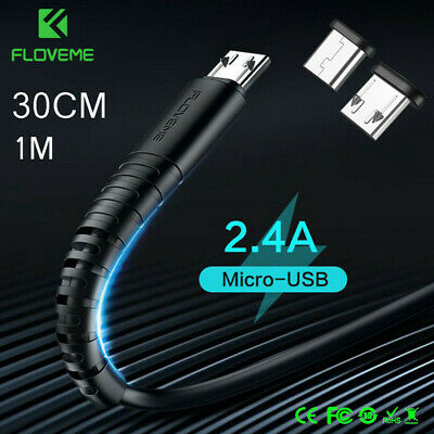FLOVEME 2.4A Micro USB/Type C Fast Charging Charger Data Sync Cable Cord 30cm/1m