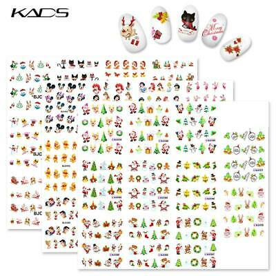 KADS Christmas Nail Art Stickers Set Water Transfer Decals Flower Nail Tips Deco