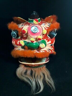 Vintage Chinese New Year Celebration Dragon Parade Mask Paper Mache Head