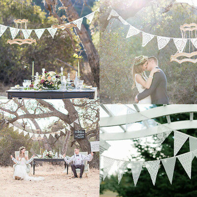 3.2m 11Flags Lace Vintage Party Wedding Celebration Pennant Bunting Banner Decor