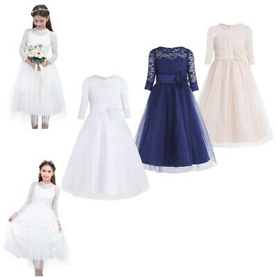 Baby Girls Flower Mesh Lace Tulle Dress Princess Birthday Party Dresses Wedding