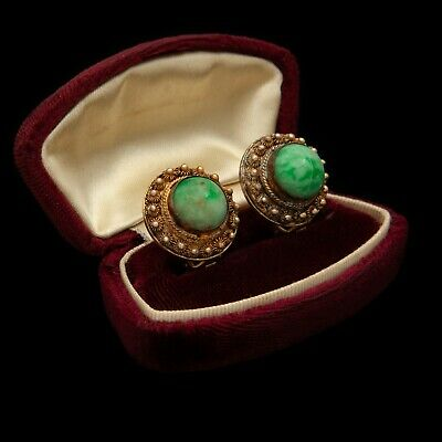 Antique Vintage Art Deco Sterling Silver Gold Wash Chinese Jade Rosette Earrings