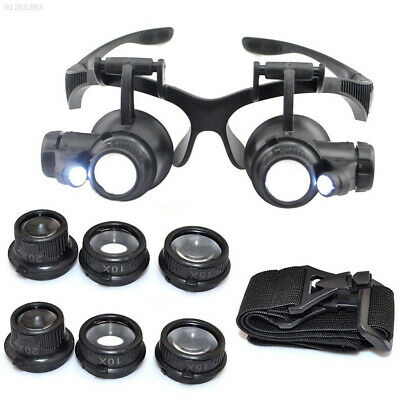 FC5C 10/15/20/25X Watch Repair Magnifier Double Eye Glasses Loupe With LED Light