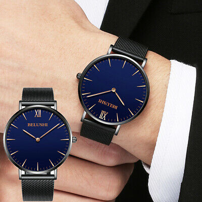 Luxury Men's Thin Mesh Stainless Steel Analog Sport Dress Wrist Watch Waterproof