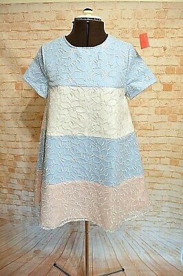 A972Asm Swing Doll Dress Floral Print Pink Blue 60S 70S Size S New
