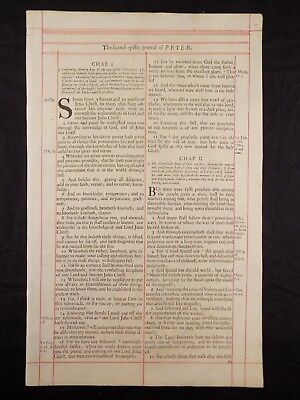 1680 Oxford First Folio King James Bible Leaf * Title Page Of Second Peter * Nf