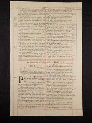 1680 Oxford First Folio King James Bible Leaf * Title Page Second Timothy * Vg