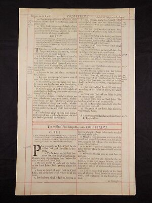 1680 Oxford First Folio King James Bible Leaf *title Page Book Of Colossians *nf