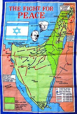 1967 Israel 6 DAY WAR Commemo CLOTH BANNER Flag BATTLE MAP Jerusalem BEN GURION