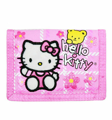 Sanrio Hello Kitty with Teddy Bear Pink Trifold Kids Wallet for Girls