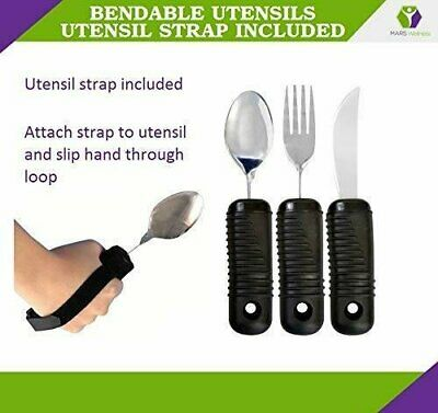 NEW 3 Piece Easy Grip Flatware Set - Bendable Fork, Knife, Spoon STRAP INCLUDED