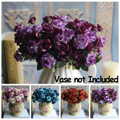 15 Heads/Bunch Artificial Fake Silk Rose Flower Bouquet Home Bridal Party Decor
