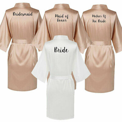 Champagne Bride Bridesmaid Satin Wedding Bath Robe Maid Of Honor Gown Dressing