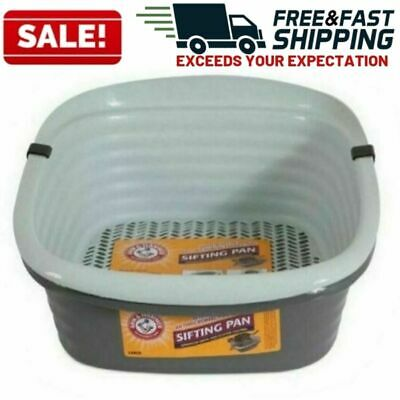 Cat Litter Pan Large Self Sifting Box Clean Slotted Tray No Shake 3 Part System