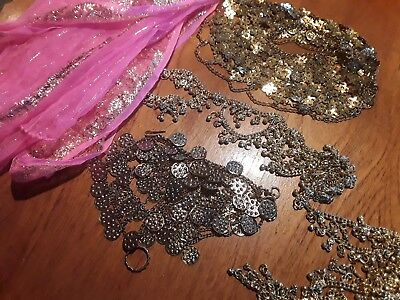 Assorted vintage gold bellydance jewellery