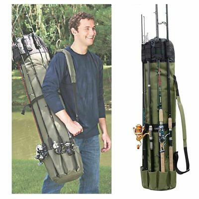 Portable Fishing Rod Reel Case Carrier Holder Gear Organizer Pole Storage Bag