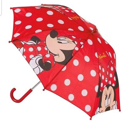 Disney Girls Minnie Mouse Red Kids Folding Umbrella Rain Brolley Back to School