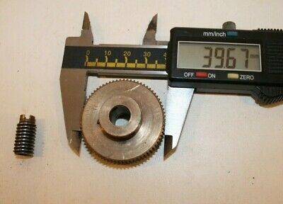 "Worm gear - ferrous worm gear approx .37"", non-ferrous gear is ~1.5"" with ~72T"