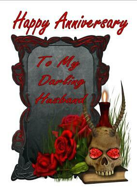 Personalised Printed Gothic Tombstone Anniversary Card Any