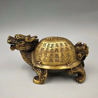 EXQUISITE Chinese Old Brass Gold Plated Inscription Dragon turtle statue YR
