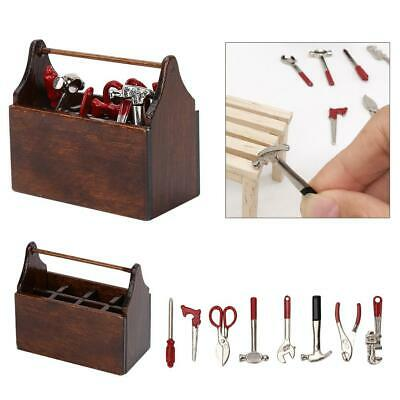 Miniature Tool Box Wooden Toolbox Model for 1/12 Doll House Accessories
