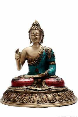 Bronze Buddha Sitting On Base Statue Old Thai Décor Showpiece Big Sculpture 20
