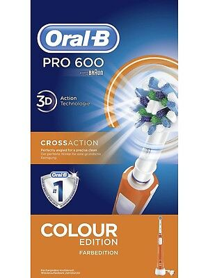 Braun Oral-B Pro 600 Elektrische Zahnbürste 3D-White CrossAction Weiß Orange