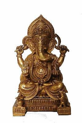 Antique Brass Hindu Elephant God Ganesha Idol Indian Hand Crafted Statue 18""