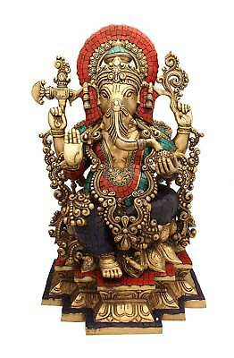 Brass South Indian Style Hindu God Ganesha Jewellery Figure Beads Statue 19""