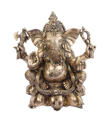 Large Ganesha Statue Brass Ganpati Ganesh Idol Elephant God Home Decor Gift 18""